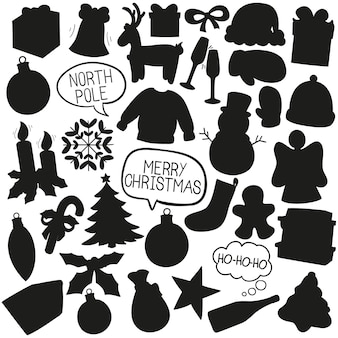 Weihnachtsgekritzel clip art vektor silhouette