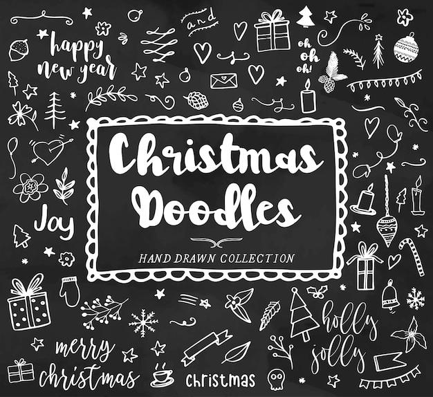 Weihnachtsgekritzel, hand gezeichnete weihnachtsabbildungen, neues jahr