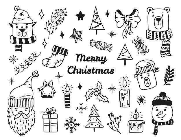 Weihnachtsgekritzel-set von elementen