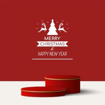 Weihnachtsgeometrisches 3d-podium für produktwerbung, frohe weihnachten