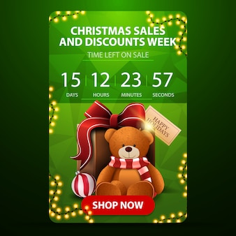 Weihnachtsgeschäfts- und rabattwoche, grüne vertikale fahne mit count-down-timer