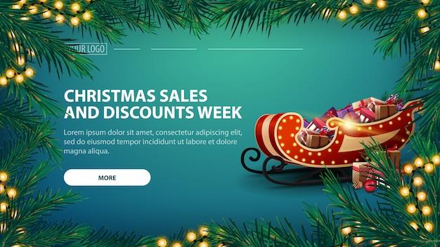 Weihnachtsgeschäfts- und rabattwoche mit grüner fahne und girlande von kiefernniederlassungen