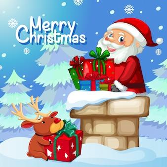 Weihnachtsgeschenk durch kamin
