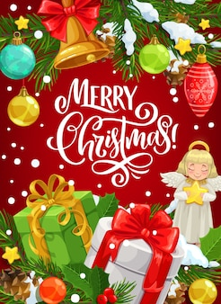 Weihnachtsgeschenk-grußkarte mit den wünschen der frohen weihnachten.