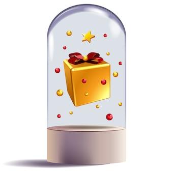 Weihnachtsgeschenk in der dekorativen illustration der glaskuppel
