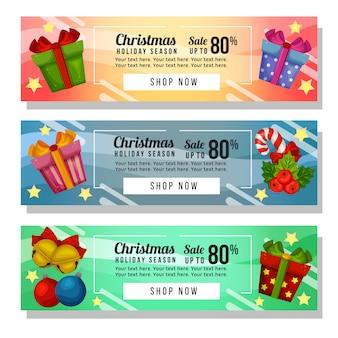 Weihnachtsgeschenk mit drei weihnachtsfahnenwebsite