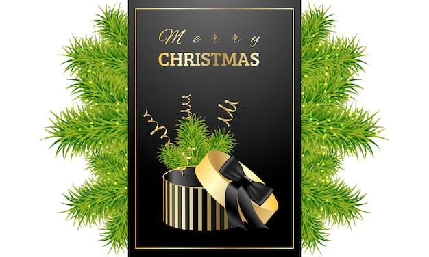Weihnachtsgeschenk mit grünen zweigen der fichte