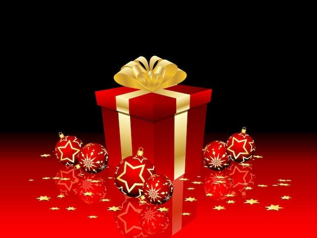 Weihnachtsgeschenk mit kugeln