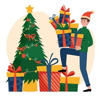 Weihnachtsgeschenk szene illustration