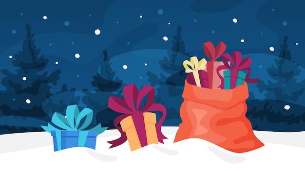 Weihnachtsgeschenk und rote tasche, die im schnee liegen. nachtwald winterlandschaft. dekoration für grußkarte. illustration