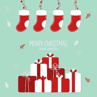 Weihnachtsgeschenk von hand gezeichneten stil