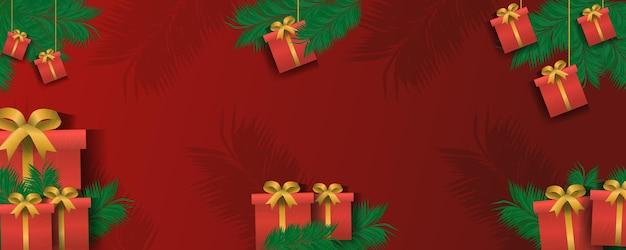 Weihnachtsgeschenkbox, frohes neues jahr feiertagsfeier konzept grußkarte winter minimalistischer breiter hintergrund horizontale vektorillustration