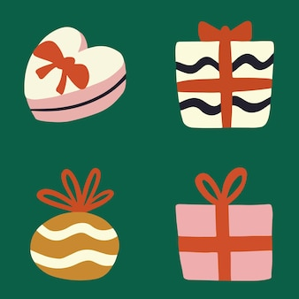 Weihnachtsgeschenkbox set sammlung social media post weihnachtsdekoration vektor-illustration