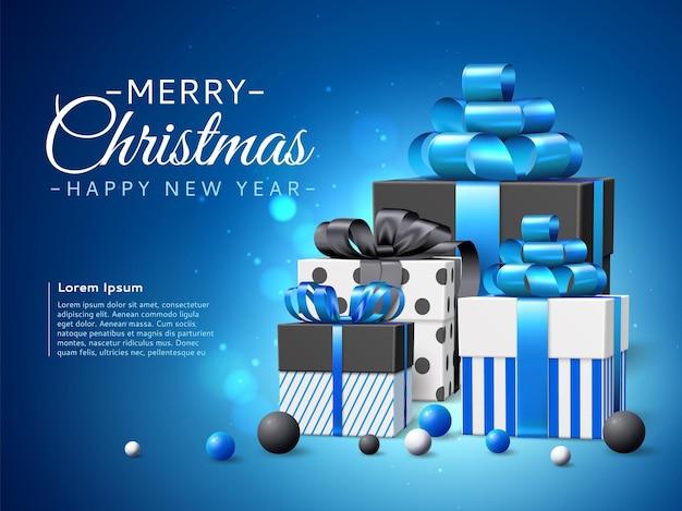 Weihnachtsgeschenkboxen. realistische stapel neujahrsgeschenke, blaues farbschema, feiertagsgrußbanner, satinbänder und schleifen. vektorplakat