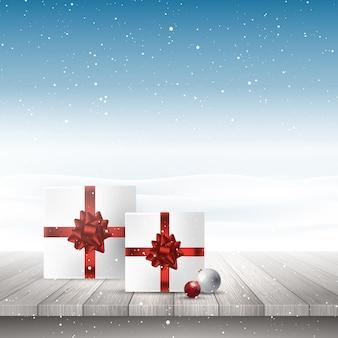 Weihnachtsgeschenke auf einem holztisch, der heraus zu einer schneebedeckten landschaft schaut