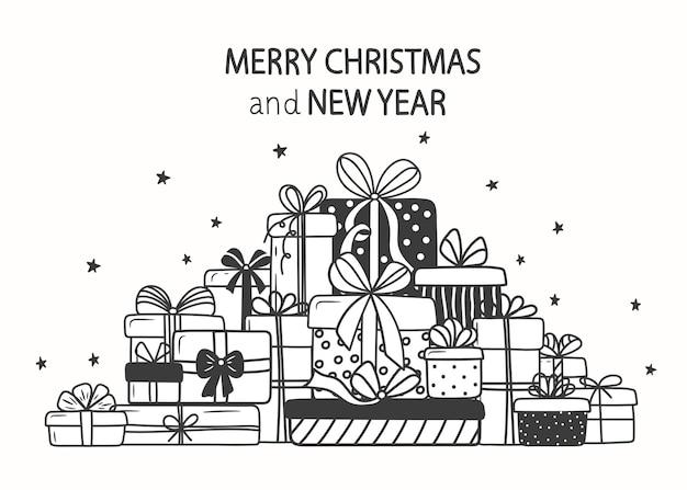 Weihnachtsgeschenke. ein berg von urlaubsboxen im doodle-stil.