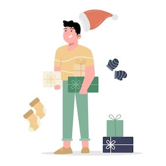 Weihnachtsgeschenke mit mann, der dieses geschenk hält