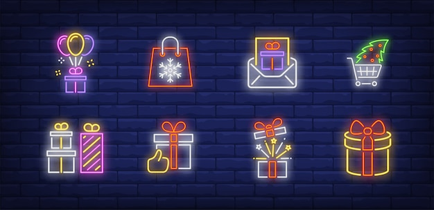 Weihnachtsgeschenke symbole im neonstil gesetzt