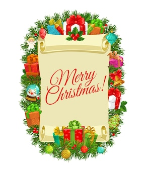 Weihnachtsgeschenke und weihnachtsbaum mit papierrollendesign