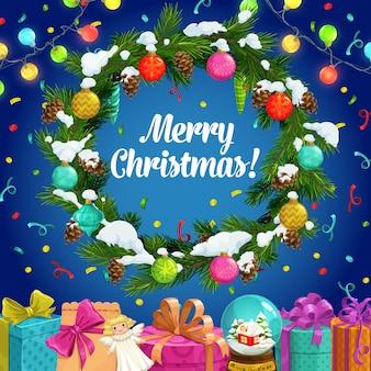 Weihnachtsgeschenke und winterferienkranzdesign der weihnachtsgrußkarte