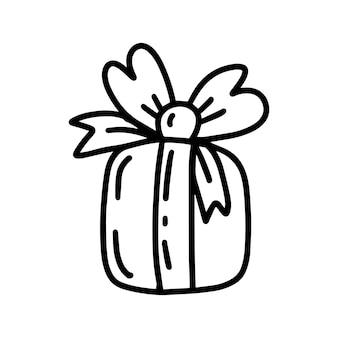 Weihnachtsgeschenkillustration im doodle-stil