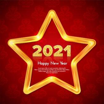 Weihnachtsgeschenkkarte frohes neues jahr 2021 mit neonlichtstern
