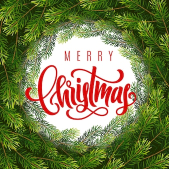 Weihnachtsgeschenkkarte mit handbeschriftung frohe weihnachten und kranz