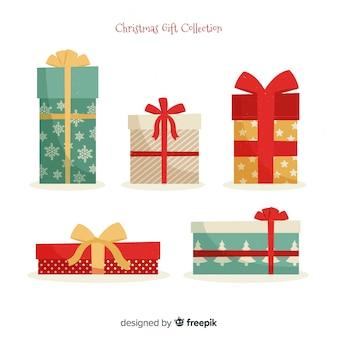 Weihnachtsgeschenkkastensammlung im flachen design