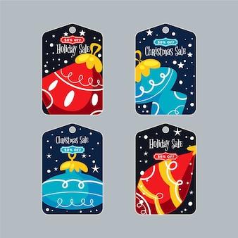 Weihnachtsgeschenkmarken eingestellt mit weihnachtskugeln