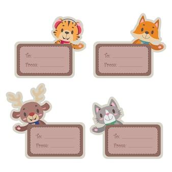 Weihnachtsgeschenkmarken mit niedlichen glücklichen tieren