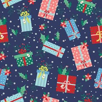 Weihnachtsgeschenkmuster mit blumen, blättern und schnee