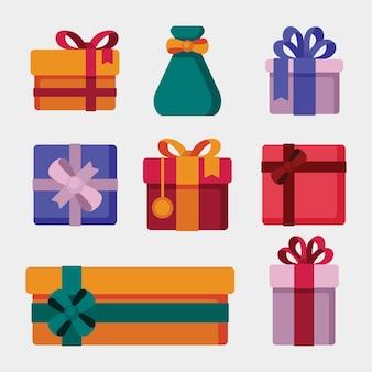 Weihnachtsgeschenksammlung im flachen design