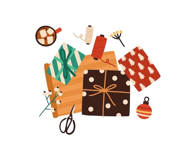 Weihnachtsgeschenkverpackungsprozess draufsichtillustration