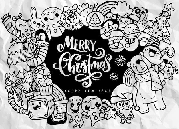 Weihnachtsgestaltungselement in der gekritzelart, in den frohen weihnachten und im guten rutsch ins neue jahr