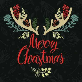 Weihnachtsgeweihpostkarten-abdeckungsentwurf. kalligraphie und waldkräuter