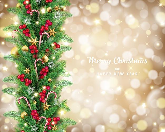 Weihnachtsgirlande in goldener bokeh hintergrundkonzeption.