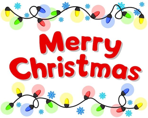 Weihnachtsgirlande leuchtet mit farbigen lichtern auf einem weißen hintergrund, einem ort für text.