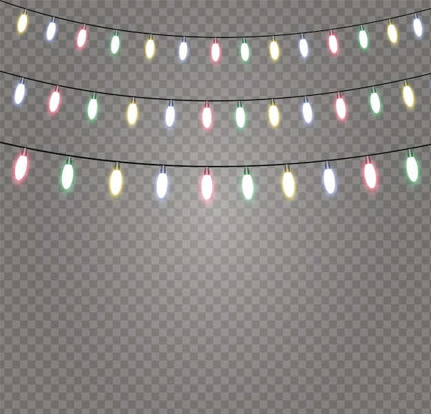 Weihnachtsgirlande lichterketten isoliert. leuchtende lichter für weihnachten.