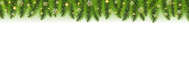 Weihnachtsgirlande und goldene weihnachtssterne weißer hintergrund mit farbverlaufsnetz