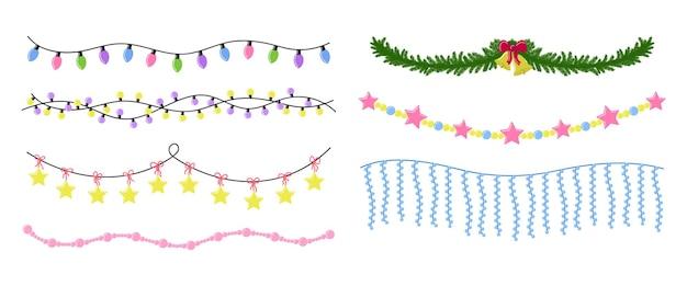 Weihnachtsgirlanden set hängende neujahrsdekorationen isoliert lichter und baumschmuck vector