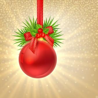 Weihnachtsglanzgoldhintergrund mit roter weihnachtskugel