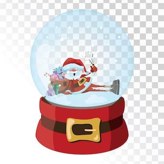 Weihnachtsglas zauberkugel mit weihnachtsmann. transparente glaskugel mit schneeflocken.