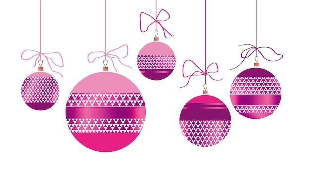 Weihnachtsglaskugeln in den farben rot und gold. weihnachten verzierte flitterillustration.