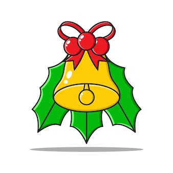 Weihnachtsglocke mit blatt-, band- und beerenelementdesignkarikaturvektor