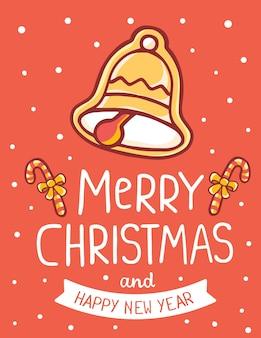 Weihnachtsglocke mit zuckerrohr und text frohe weihnachten