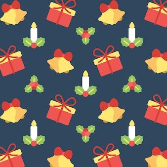 Weihnachtsglocken-kerze und geschenk-nahtloser muster-hintergrund