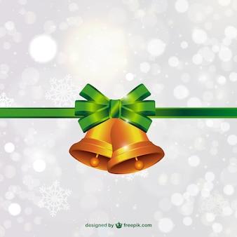 Weihnachtsglocken mit grüner schleife vektor-