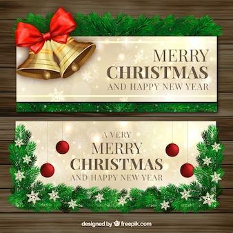 Weihnachtsglocken und tannenblättern banner