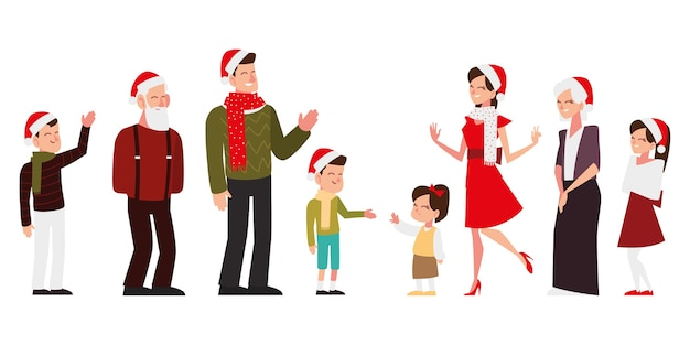 Weihnachtsglückliche leute mit hut und schal feiern saisonpartyillustration