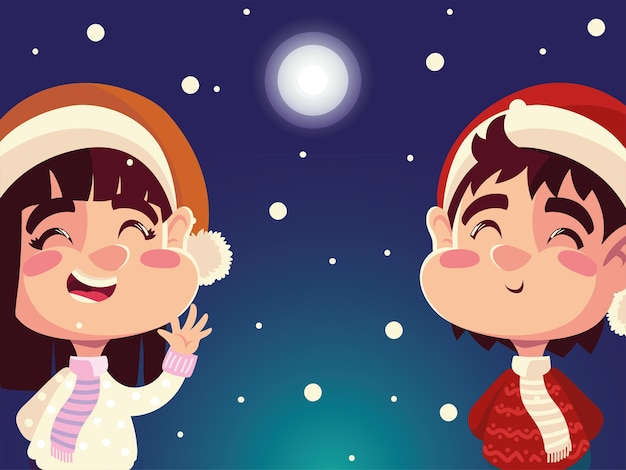 Weihnachtsglücklicher junge und mädchen mit weihnachtsmützen in der nachtillustration